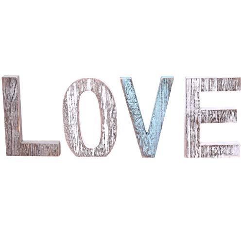 """Letras de madera decorativas """" LOVE """" - Letras de madera grandes para decoración de paredes en azul rústico, blanco y gris - Decoración rústica del hogar para la sala de estar - Rustico Decor Acentos"""