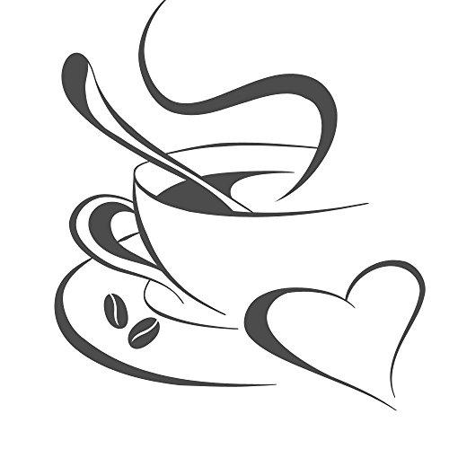 Grandora Wandtattoo Kaffetasse Herz I dunkelgrau (BxH) 10 x 12 cm I Kaffee Tasse Bohnen selbstklebend Küche Aufkleber Wandaufkleber Wandsticker W3040 (Kaffee-tassen-küche)