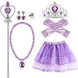 VAMEI Principessa Sofia Bambina Principessa Accessori Costumi Principessa Tiara Bacchetta Guanti e Collana Ragazze Vestito Abbigliamento