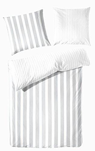 PRIMERA first sleepware Wende- Bettwäsche Perkal Blockstreifen grau weiß 155x220cm 2 tlg Garnitur 100% Baumwolle Hochwertige Qualität, OekoTex
