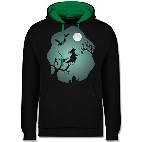 Shirtracer Halloween - Hexe Mond Grusel Grün - XXL - Schwarz/Grün - JH003 - Kontrast Hoodie