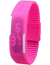 Pappi Boss Unisex Silicone Jelly Slim Cute Pink Led Sports Band Digital Watch for Boys & Girls