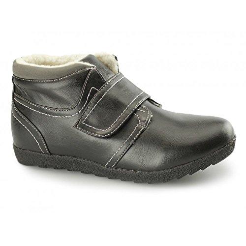 Dr Keller Natrelle ASH Ladies Faux Leather Velcro Faux Fur Boots Black/Grey...