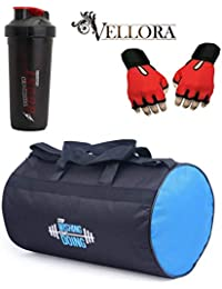 VELLORA Polyester Long Lasting Material Duffel Gym Bag (Blue) With Thunder Boost Shaker, Gym Shaker Bottle Black...