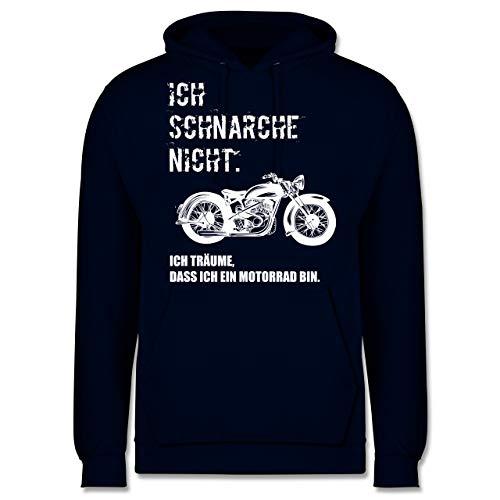 Statement Shirts - Ich schnarche Nicht. ich träume DASS ich EIN Motorrad Bin Vintage - XL - Navy Blau - JH001 - Herren Hoodie