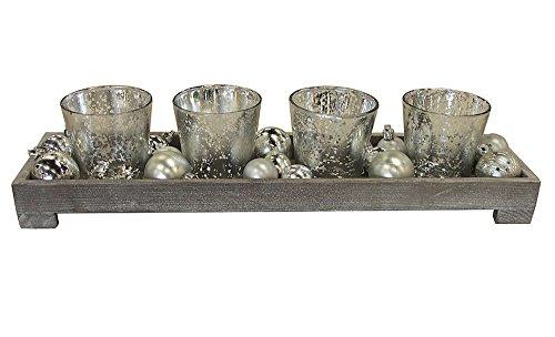 Kerzentablett Advent Teelichthalter Set mit Deko Silber
