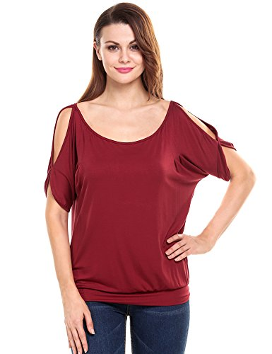 Meaneor Damen Loose Halbarm T Shirt schulterfrei Rundhals Tops Oberteil Fledermaus Bluse mit Schleife, Weinrot, EU 42(Herstellergröße: XL) - Schwarze Römische Farbtöne