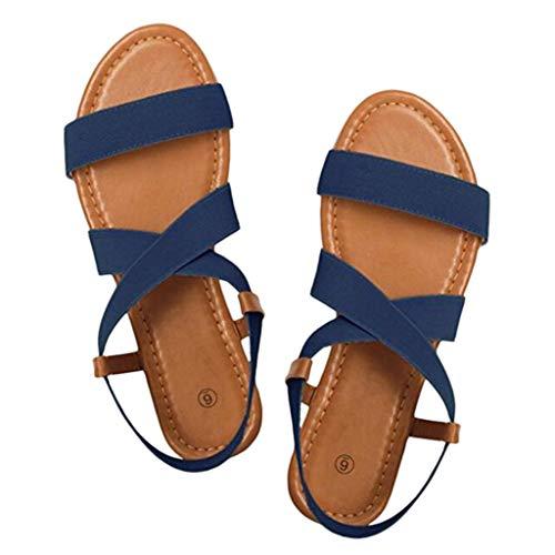 en Freizeit Elastischen 2019 Sommer Flach Sandalen Frauen Geschnürt Sandaletten Römischen Strandschuhe (Blau,38 EU) ()
