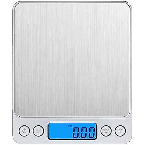 Smart Weigh-Bilancia digitale tascabile,, 3000 g/0,01 g/0,1 g amir® Mini bilancia, Electric Pro Pocket-Bilancia, Smart Weigh-Bilancia digitale tascabile con retro illuminato, schermo LCD, funzione, le caratteristiche e pezzi, in acciaio INOX