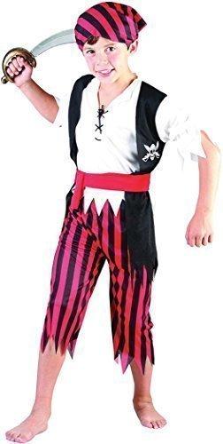 ostümparty Welttag des Buches Karibischer Pirat Junge Jim Kostüm Outfit - Multi, Multi, Small (Einfach Pirat Kostüm)