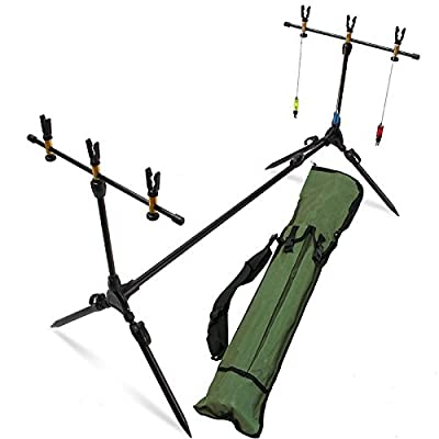 Deluxe Sturdy Carp Fishing Rod Pod Stand Set With Hanger Indicators And Rests from Carp Corner