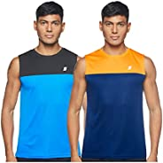 Amazon Brand - Symactive Men's Solid Regular Fit Sleeveless Sports T-S