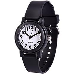 WOLFTEETH Analog Grade School Boys Reloj De Pulsera con Segunda Mano Cute Pequeño Rostro Blanco Dial Resistente Al Agua Niño Negro 305804