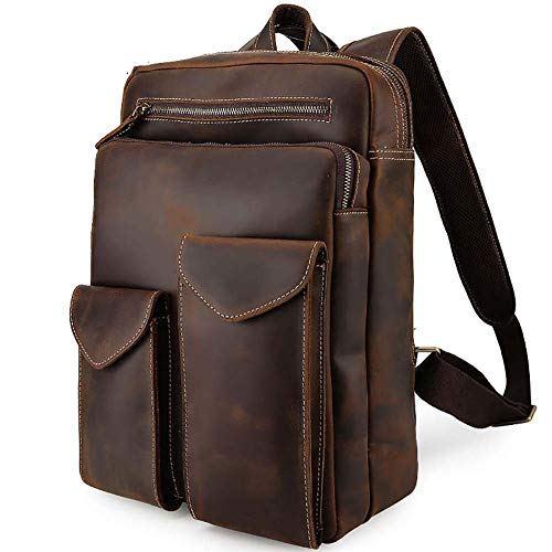 hsy Handtasche Messenger Desk Schwarz Braun Retro Style Portable Leder Rucksack Tote Business Laptop 14