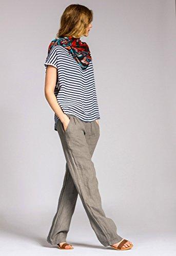 CASPAR KHS020 Donna Pantaloni di Lino Taupe