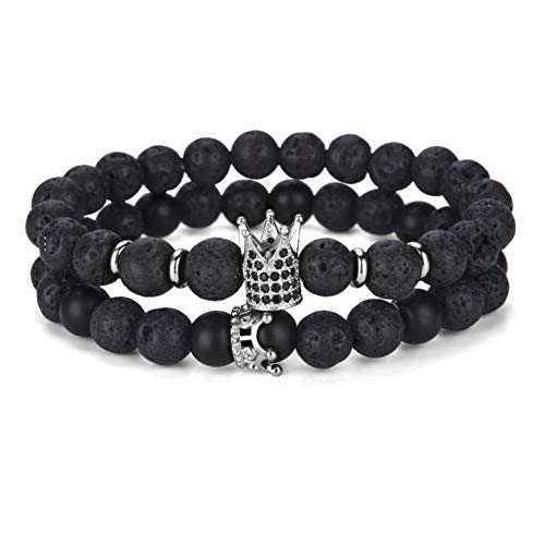 Natürliche Lava Stein Armband Für Mann Zirkonia Crown Braclet Männlichen Zubehör Cool Biker Brazalete Hombre ()