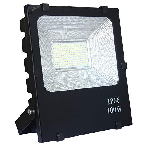 AUFUN 100W LED fluter scheinwerfer kaltweiß - LED außenstrahler sicherheitsleuchte schwarz wasserdicht IP66 (100W kaltweiß)