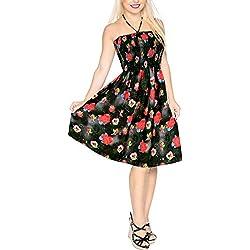 LA LEELA kurzes Kleid Thema-Partei 3D HD Herz gedruckt Liebe Geschenk Valentines Tag Outfit Frauen für ihre DE Größe: 32 (XS) - 44 (L) Valentinstag Schwarz_Y637