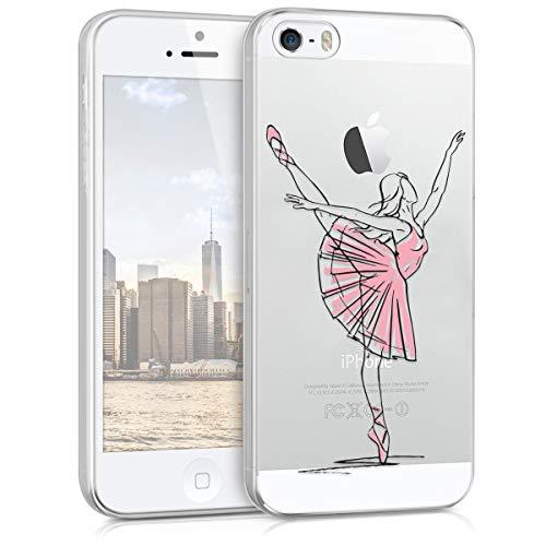 kwmobile Apple iPhone SE / 5 / 5S Hülle - Handyhülle für Apple iPhone SE / 5 / 5S - Handy Case in Schwarz Rosa Transparent (Mädchen Iphone Für 5 Soft-tasche)