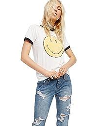 Camisetas Mujer manga corta Deporte Emoji Punk Crop Tops Ropa