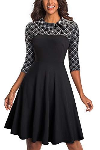 HOMEYEE Damen Vintage Revers Colorblock Houndstooth Patchwork Swing Business Kleid A121 (EU 40 = Size L, Schwarzes Gitter)