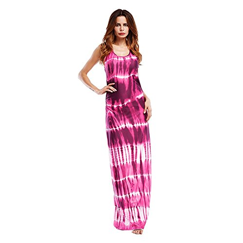 CAOQAO Elegant Damen Ballkleid Hochzeitskleid Festlich Dressurgerte Sleeveless Bohemian Tie Dye Illusion Print Racerback Long Tank Strandkleid