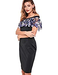 Paper Dolls Womens Lace Midi Dress with Bardot Neck and Ruffle Overlay in Navy From Brand Attic