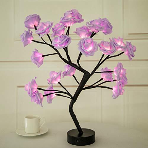 Mobestech led tischlampe rose baum leuchtet dekorative nachtlicht schreibtischlampe für hochzeit tischdekoration weihnachtsfeier valentinstag zuhause schlafzimmer dekor