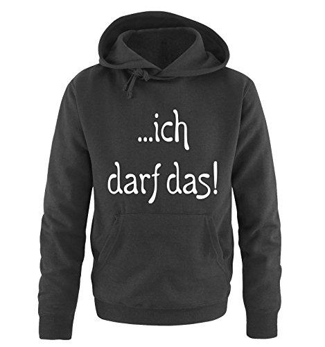 Comedy Shirts ich darf das. Kapuzen Sweatshirt - Hoodie - Pulover Größe S - Schwarz/Weiss