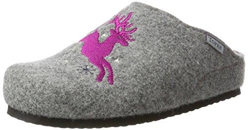 TOFEE Damen 74-552 Hirsch Pantoffeln, (Grau/Pink), 38 EU