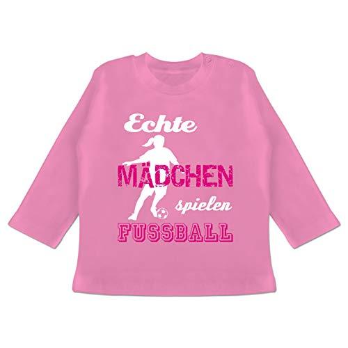 Sport Baby - Echte Mädchen Spielen Fußball weiß - 3-6 Monate - Pink - BZ11 - Baby T-Shirt Langarm -