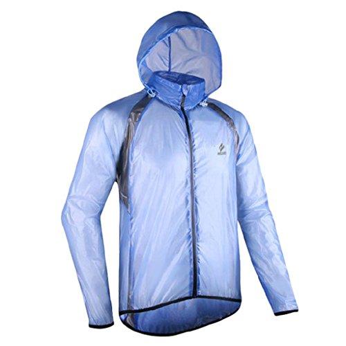 GWELL Leicht Fahrradjacke Regenjacke Wasserdicht Winddicht Atmungsaktiv für Herren blau L