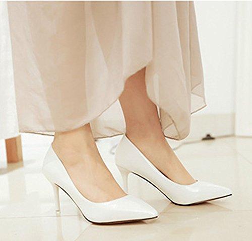 Stiletto Damen Künstliche Lack Pumps Spitz Klassisch Leder Weiß ...