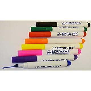 BINGWAN 8 x Dry Wipe White Board Marker Pens Assorted Colours Pen
