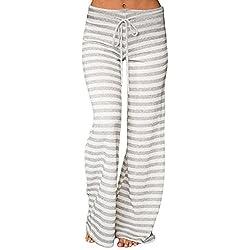 Honghu Mujeres con cordones sueltos pantalones de rayas largas Pantalones de pierna ancha Yoga Palazzo Lounge Pantalones de pijama L Gris