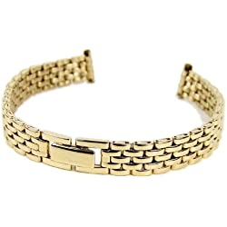 Stalux Replacement Watch Strap Stainless Steel Band IP yellow Gold 10mm-12mm 785402
