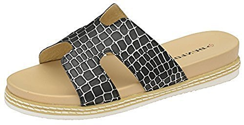 Dunlop Donna Memory Foam Casual Comfort Slip On Coccodrillo Scarpa Sandalo Nero