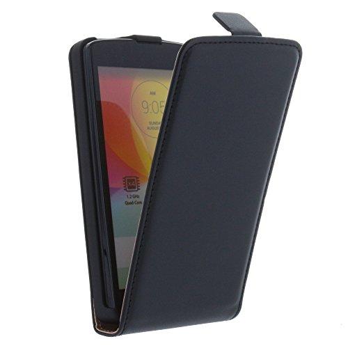 Smart-Planet qualitatives FlipCover / Flip Case / Hülle für LG L Fino / Lfino - hochwertige Kunstleder Tasche in schwarz