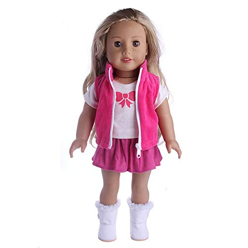 JUNMAONO 18 inches Barbie Puppe Kleidung Cowboy dreiteiliger Anzug/Barbie Kleider/Barbie Puppe Kleidung/Barbie Puppe Mattel/Barbie Kleider Nähen/Barbie Kleider Original American Girl Puppe (Rosa)