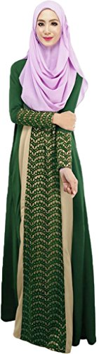 Ababalaya Frauen Elegante Muslimische Islamische Kleidung Chiffon Farbblock-Spitze Länge Abaya XL-7XL Grün