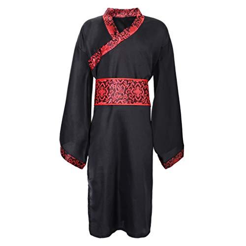 KESOTO Chinesischer Hanfu Traditionellen Stil Cosplay Kostüm für Männer, Rot und Schwarz - XL