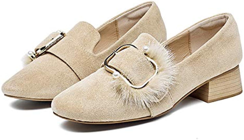 HBDLH Scarpe da Donna metà del Tacco Spesso Il Solo Scarpe Autunno metà della Bocca Camoscio delle Scarpe Piazza... | Caratteristico  | Scolaro/Ragazze Scarpa