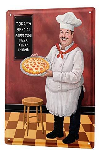 qidushop Lebensmittel-Dekoration, für Pizza, Chef, Barhocker, Retro, Metall, Wanddekoration, Kunstgeschäft, Mann, Höhle Bar, Garage Chef Pizza