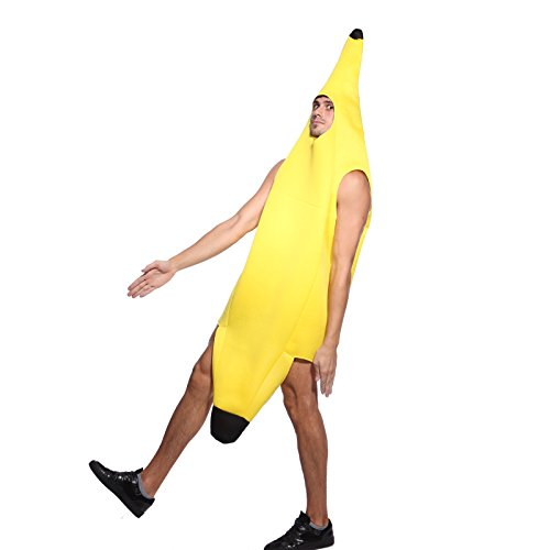 Bananenkostuem Banane Kostuem Bananenanzug Frucht Anzug Fancy Dress Herren Damen FaschingKostuem Party (Dress Fancy Anzug)