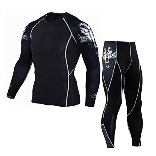 ASHOP Herren Trainingsanzüge, Thermounterwäsche Thermo Oberteile und Unterteile Funktionsunterwäsche Set Langarm Shirt Lange Unterhose Skiunterwäsche (Weiß, XXL) -