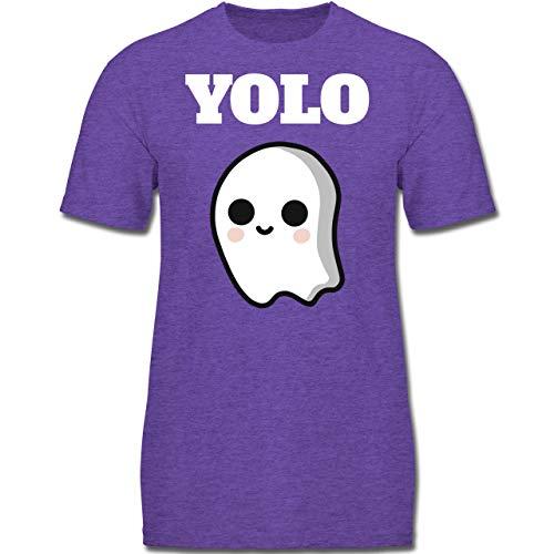 Anlässe Kinder - Geist YOLO Motiv - 152 (12-13 Jahre) - Lila Meliert - F130K - Jungen Kinder T-Shirt