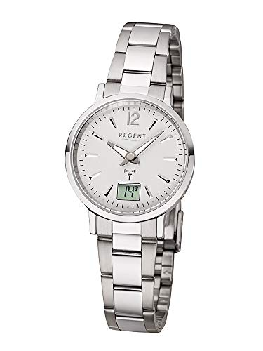 REGENT Damen-Armbanduhr Funkuhr Edelstahl analog-digital Quarz Stahlband Silber W-0080