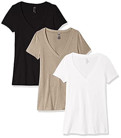 Clementine Women's Petite Deep V Neck T-Shirt (Pack of 3)