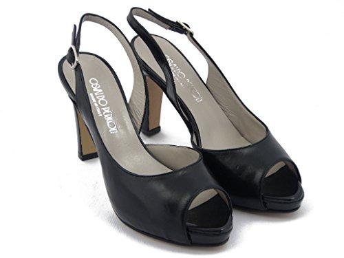 Sandalo Osvaldo Pericoli in pelle nappa, scarpa con tacco 9cm. e plateau 1,5, suola in vero cuoio, estivo-139T80 Nero