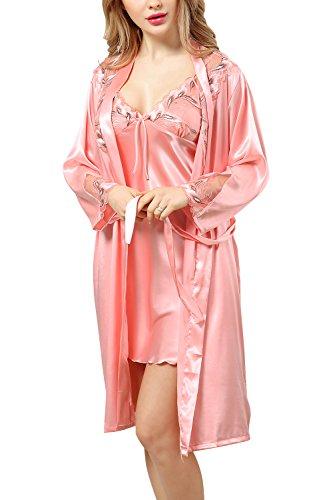 Dolamen camicia da notte donna con kimono vestaglia pigiama , 2-in-1 seta pigiama pigiami in raso, lusso & sexy fiore ricamo chemise camicia da notte, biancheria intima pigiameria (large, pink)